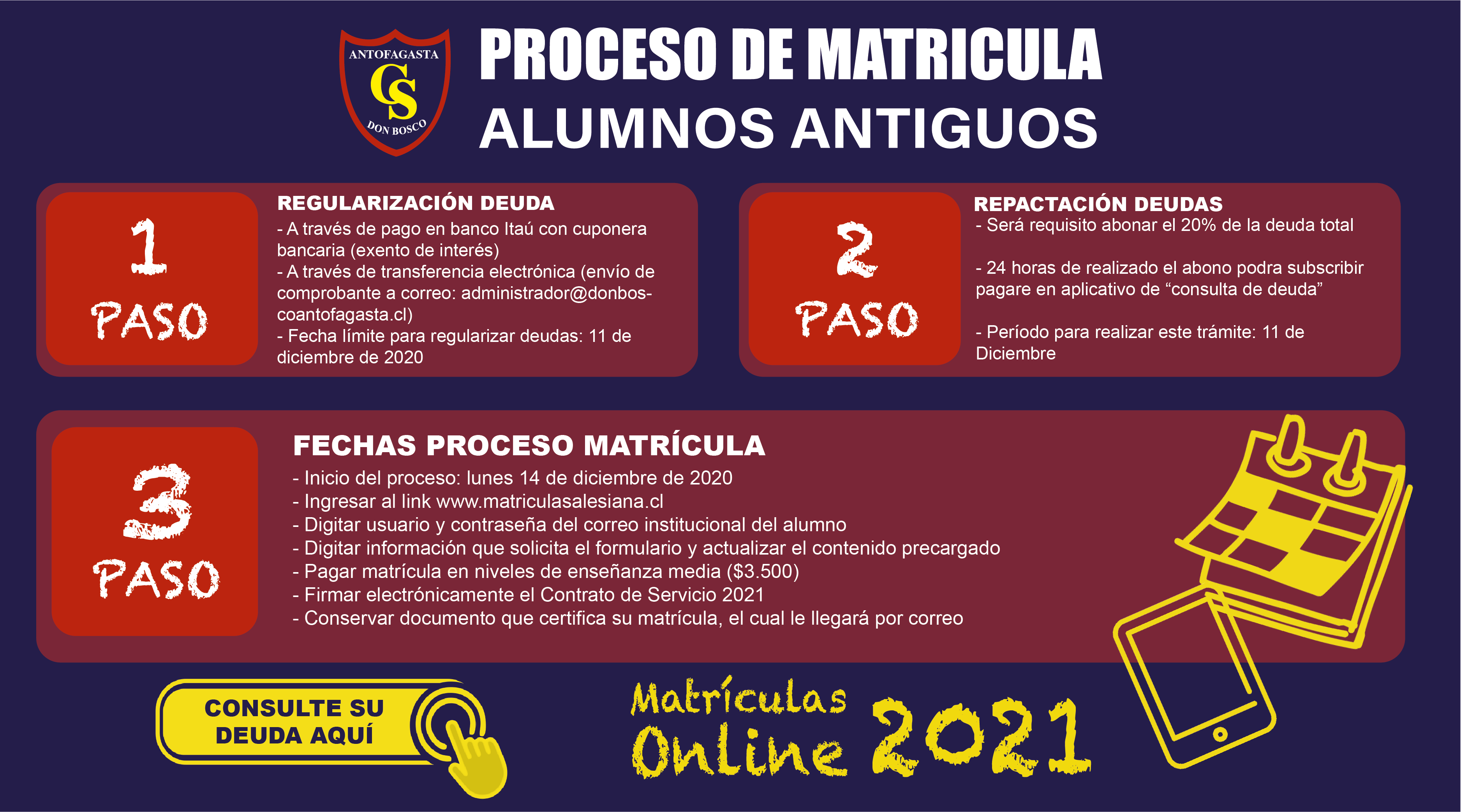 pop up matricula27 04